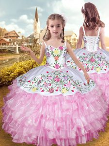 Custom Design Straps Sleeveless Kids Formal Wear Floor Length Embroidery and Ruffled Layers Rose Pink Organza and Taffet