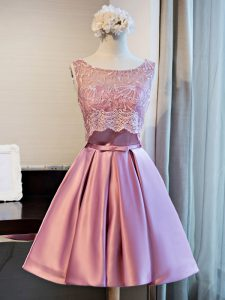 Sleeveless Mini Length Lace and Appliques and Belt Lace Up Prom Dresses with Lilac