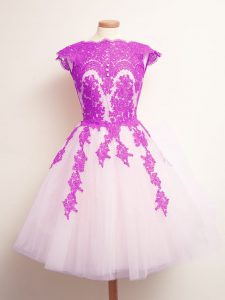 Traditional A-line Quinceanera Court Dresses Multi-color Scalloped Tulle Sleeveless Mini Length Lace Up