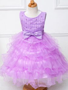 Modest Lilac Organza Zipper Scoop Sleeveless Tea Length Flower Girl Dresses for Less Ruffled Layers and Bowknot