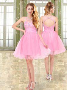 Fashionable Pink A-line Beading Club Wear Side Zipper Organza and Chiffon Sleeveless Mini Length