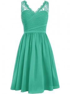 Empire Dama Dress for Quinceanera Green V-neck Chiffon Sleeveless Knee Length Side Zipper
