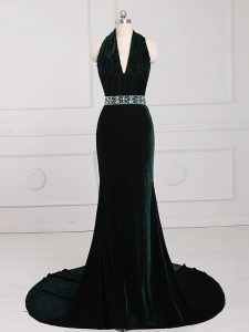 Luxurious Dark Green Halter Top Neckline Beading Formal Dresses Sleeveless Zipper