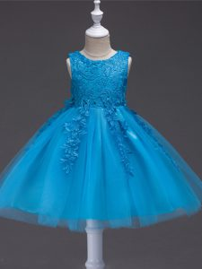Stunning Sleeveless Tulle Knee Length Zipper Flower Girl Dresses for Less in Teal with Appliques