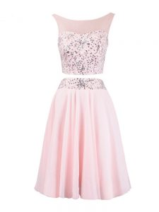 Popular Knee Length Zipper Prom Dresses Baby Pink for Prom and Party and Military Ball and Sweet 16 with Beading