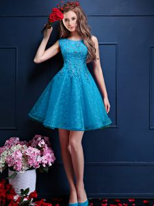 Flirting Knee Length Teal Quinceanera Court of Honor Dress Bateau Sleeveless Lace Up