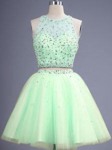 Sumptuous Yellow Green Two Pieces Tulle Scoop Sleeveless Beading Knee Length Lace Up Quinceanera Dama Dress