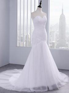 Classical White Sleeveless Ruching Lace Up Wedding Dresses