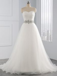 Decent White Sleeveless Organza Brush Train Lace Up Wedding Gowns for Beach and Wedding Party