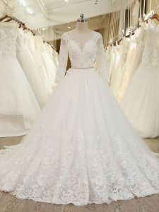 Glittering Scoop Long Sleeves Tulle Bridal Gown Beading and Lace and Appliques Chapel Train Zipper