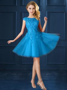 Sweet Bateau Cap Sleeves Bridesmaids Dress Knee Length Lace and Belt Baby Blue Tulle