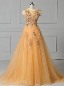 On Sale Tulle Sleeveless Military Ball Dresses For Women Brush Train and Appliques and Pattern