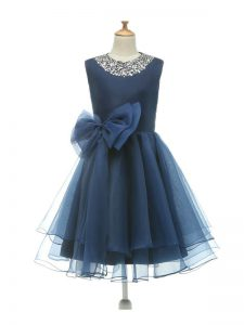 Charming Scoop Sleeveless Zipper Child Pageant Dress Navy Blue Tulle