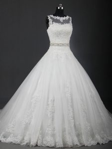 Customized Sleeveless Lace and Belt Lace Up Wedding Gowns with White Brush Train