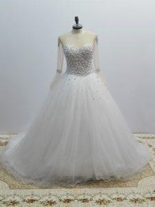 Captivating Long Sleeves Brush Train Lace Up Beading Wedding Gowns
