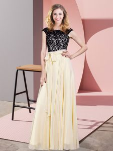 Floor Length Champagne Dress for Prom Chiffon Sleeveless Lace and Belt