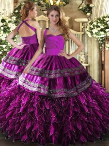 Great Floor Length Fuchsia Quinceanera Dresses Satin and Organza Sleeveless Embroidery and Ruffles