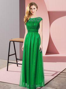 Wonderful Scoop Sleeveless Zipper Prom Dresses Dark Green Tulle