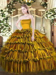 Brown Zipper Ball Gown Prom Dress Ruffled Layers Sleeveless Floor Length