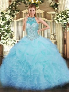 Discount Aqua Blue Ball Gown Prom Dress Military Ball and Sweet 16 and Quinceanera with Beading and Ruffles and Pick Ups