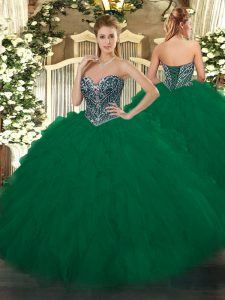 Sleeveless Tulle Floor Length Lace Up Vestidos de Quinceanera in Dark Green with Beading and Ruffles