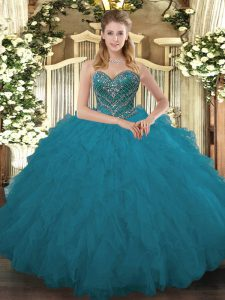 New Arrival Teal Sweetheart Lace Up Beading and Ruffled Layers Ball Gown Prom Dress Sleeveless