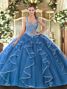 Eye-catching Blue Tulle Lace Up V-neck Sleeveless Floor Length Quinceanera Gown Beading and Ruffles