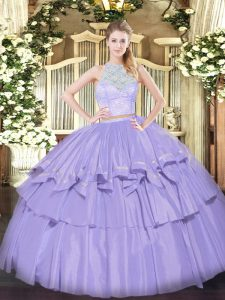 Free and Easy Lavender Sleeveless Floor Length Lace and Ruffled Layers Zipper Sweet 16 Quinceanera Dress