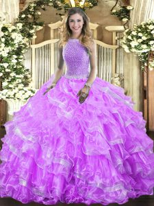Pretty Lavender High-neck Neckline Beading and Ruffled Layers Vestidos de Quinceanera Sleeveless Lace Up