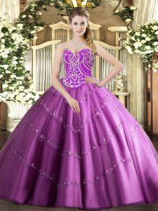 Fashion Sweetheart Sleeveless 15 Quinceanera Dress Floor Length Beading and Appliques Lilac Tulle