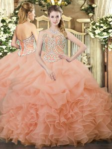 Customized Sleeveless Floor Length Beading and Ruffles and Pick Ups Lace Up Sweet 16 Dresses with Peach