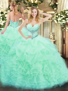 Apple Green Lace Up Vestidos de Quinceanera Beading and Ruffles and Pick Ups Sleeveless Floor Length