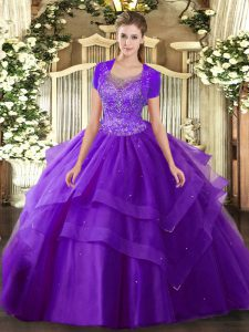 Lovely Purple Clasp Handle Scoop Beading and Ruffles Quinceanera Gowns Tulle Sleeveless