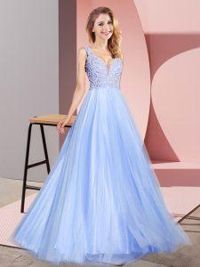 Chic Floor Length Light Blue Prom Evening Gown V-neck Sleeveless Zipper