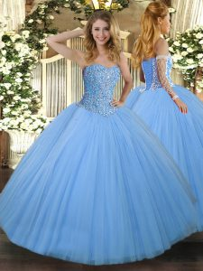 Top Selling Aqua Blue Tulle Lace Up Quinceanera Gown Sleeveless Floor Length Beading
