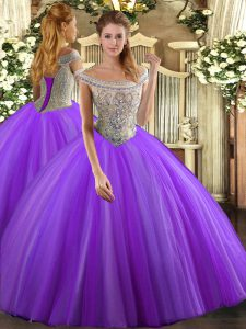 Sweet Ball Gowns Sweet 16 Quinceanera Dress Lavender Off The Shoulder Tulle Sleeveless Floor Length Lace Up