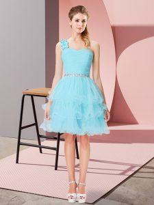 Vintage One Shoulder Sleeveless Prom Dresses Mini Length Beading and Ruffled Layers Aqua Blue Organza