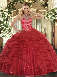 Custom Fit Coral Red Ball Gowns Organza Halter Top Sleeveless Beading and Ruffles Floor Length Lace Up Quinceanera Dress