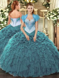 Glorious Teal Ball Gowns Sweetheart Sleeveless Organza Floor Length Lace Up Beading and Ruffles Quinceanera Gown