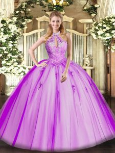 Luxury Fuchsia Sleeveless Lace and Appliques Floor Length Quinceanera Dress