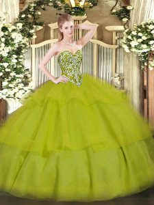Artistic Sweetheart Sleeveless Lace Up Quinceanera Gowns Olive Green Tulle