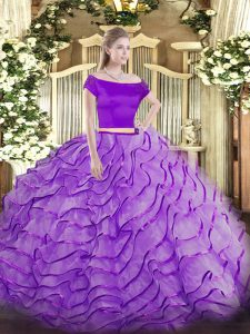 Beauteous Lavender Zipper Quinceanera Gowns Appliques and Ruffles Short Sleeves Brush Train