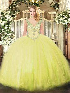 Glittering Yellow Green Sleeveless Tulle Lace Up 15th Birthday Dress for Military Ball and Sweet 16 and Quinceanera