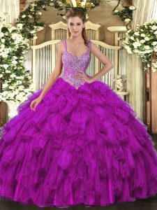 Sophisticated Beading and Ruffles Vestidos de Quinceanera Purple Lace Up Sleeveless Floor Length