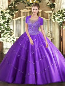 Sleeveless Beading and Appliques Clasp Handle 15 Quinceanera Dress