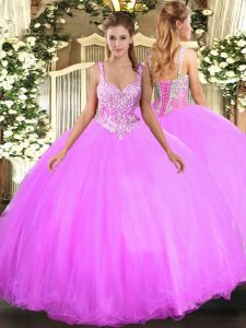 Fancy Tulle Sleeveless Floor Length Quinceanera Dresses and Beading