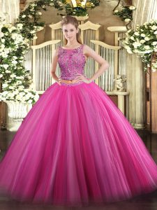 Free and Easy Two Pieces Quinceanera Gown Hot Pink Scoop Tulle Sleeveless Floor Length Lace Up