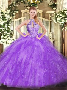 Lavender Sleeveless Organza Lace Up Sweet 16 Quinceanera Dress for Military Ball and Sweet 16 and Quinceanera