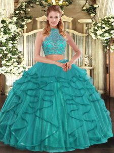 Noble Turquoise Two Pieces Tulle Halter Top Sleeveless Beading and Ruffled Layers Floor Length Criss Cross Sweet 16 Dres