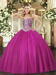 Great Fuchsia Sweetheart Lace Up Beading Quince Ball Gowns Sleeveless